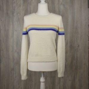 Forever 21 Fluffy Rainbow Sweater Medium